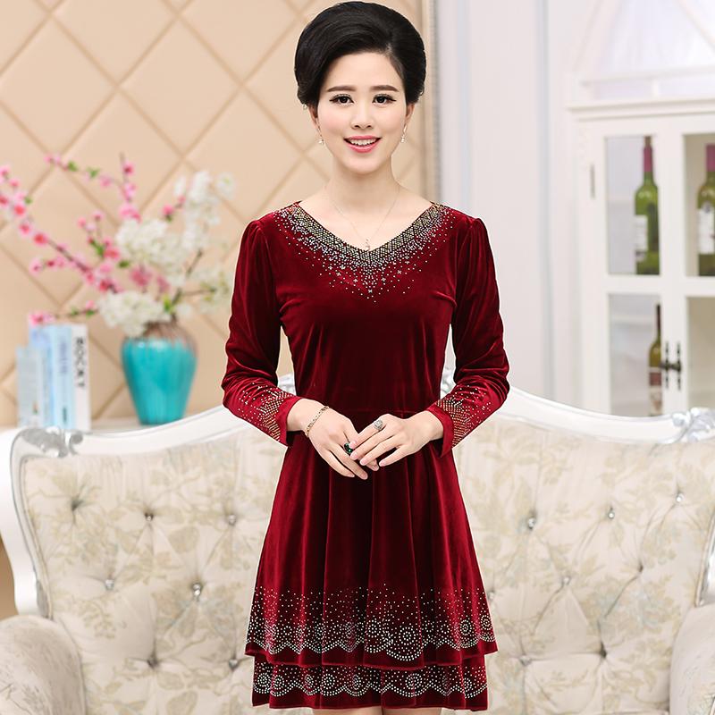 2016新款中老年女装秋冬装金丝绒连衣裙中年妈妈装长袖40-50裙子