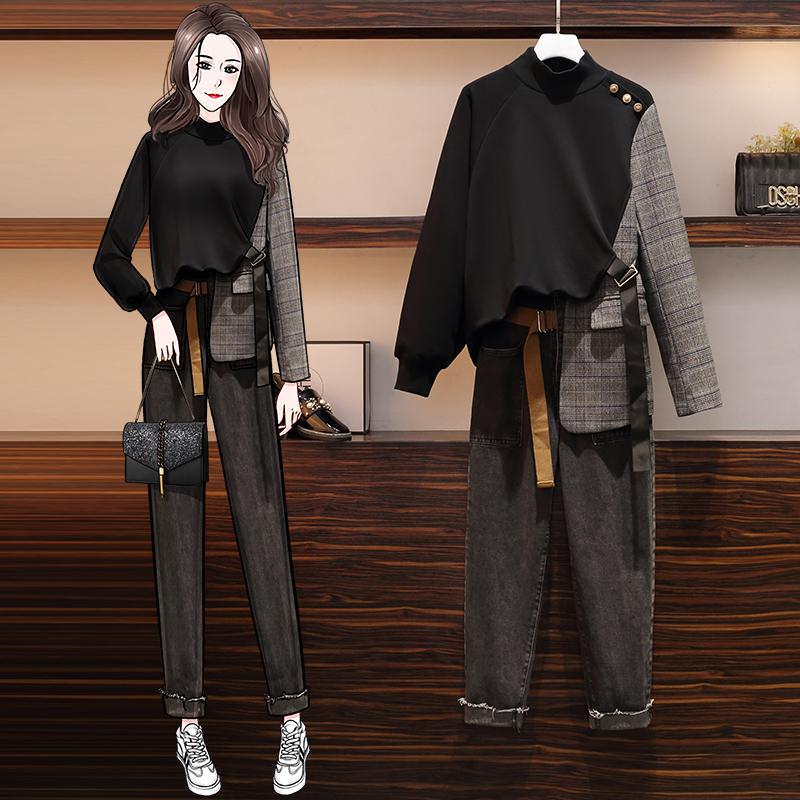 2020秋冬高领卫衣拼接西装+高腰直筒老爹牛仔裤大码套装大码两件-熊猫-大码装-