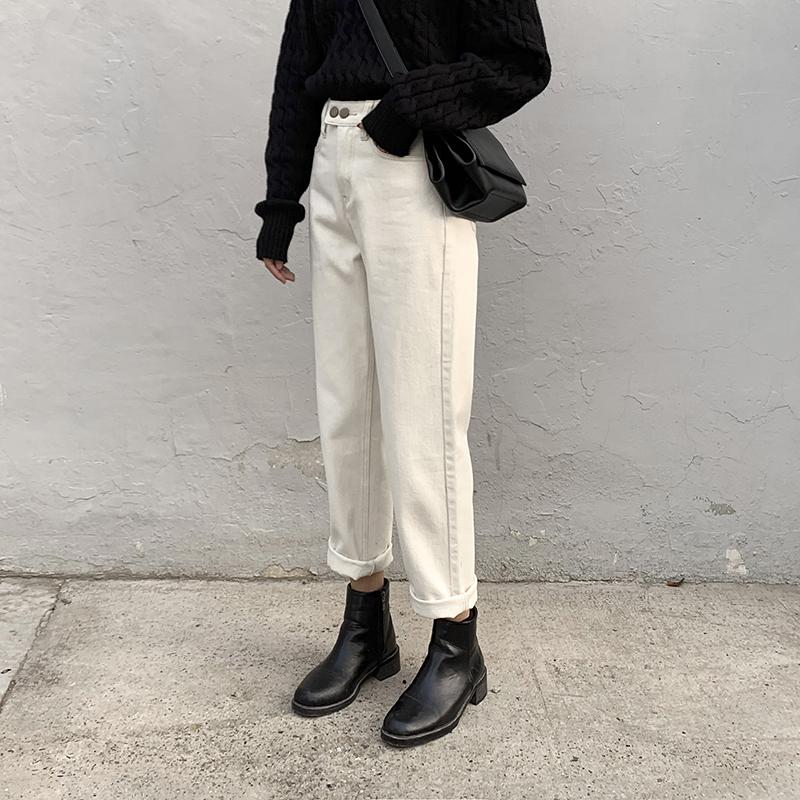 CHICVEN两粒扣高腰显瘦微锥形直筒牛仔裤女2019冬新款加绒九分裤图片