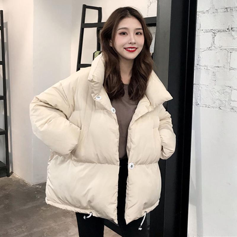 2018新款冬季韩版立领夹棉加厚面包服棉袄学生宽松棉衣棉服外套女