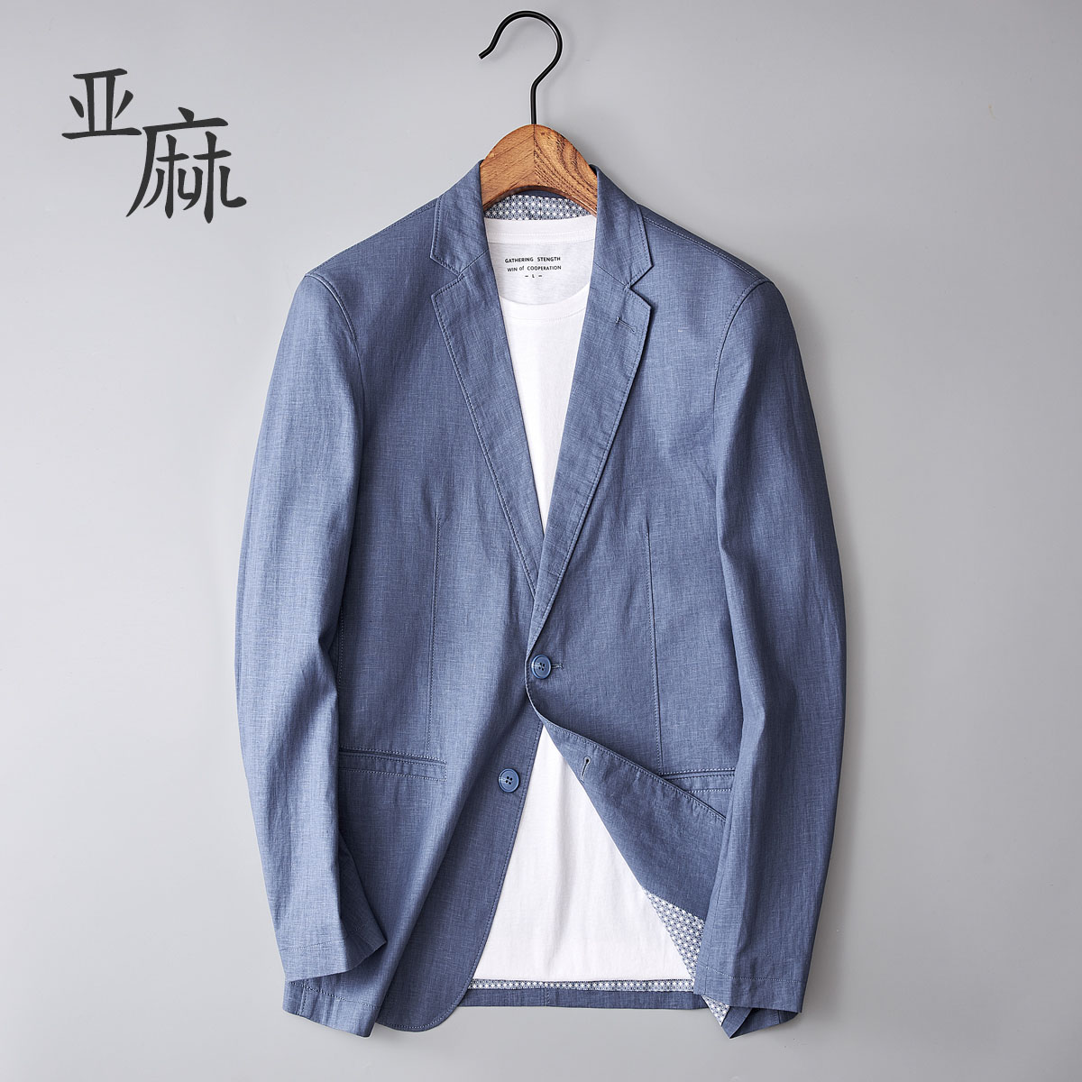 亚麻小西装男春夏薄款修身韩版复古棉麻商务休闲单件西服大码外套
