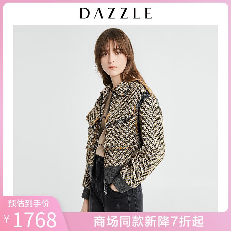 DAZZLE地素 2020春装新款经典复古系列箱型粗花呢外套女2C1G1036L