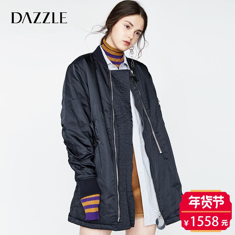 DAZZLE地素 17秋专柜新款 双拉链可开叉棒球领棉外套 2A3H4011T
