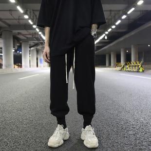 暗黑RO风欧美高街宽松毛圈布罗纹束脚裤 INS潮抽绳百搭休闲棉卫裤