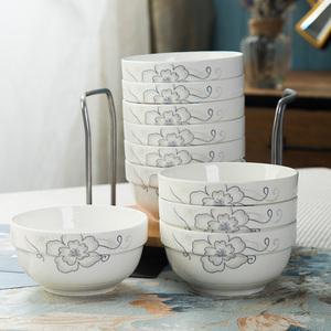 景德镇陶瓷碗家用10个4.5英寸微波炉专用防烫简约米饭精品骨瓷碗