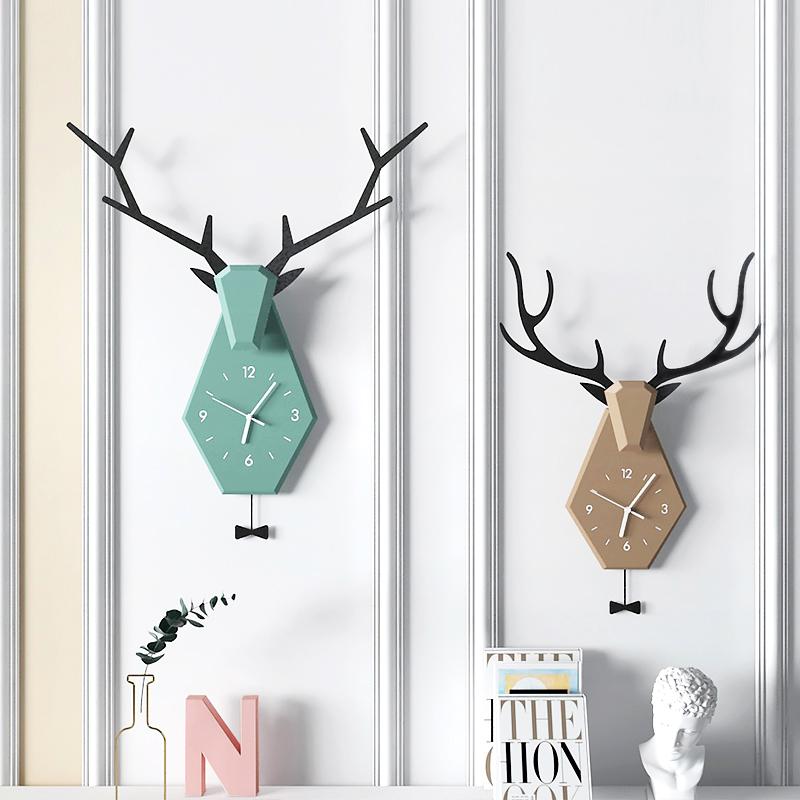 北欧创意鹿角挂钟现代简约钟表家用客厅静音挂钟时尚网红装饰时钟