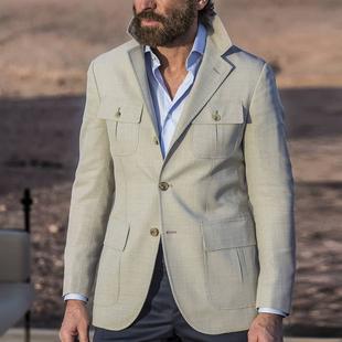 2020新款男英式学院休闲羊毛西服上衣修身单排扣多袋珠边西装外套图片