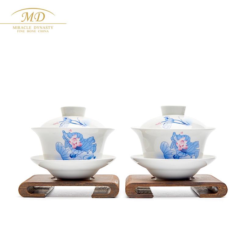 玛戈隆特 骨瓷 MD 三件盖碗 茶杯 情侣杯 对杯 骨瓷礼盒包装