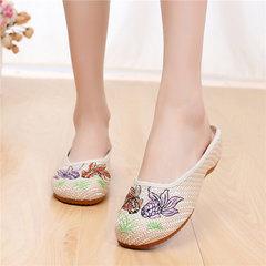 夏季,新款,北京布鞋,民族风,平底,绣花,休闲,汉服,拖鞋,米色