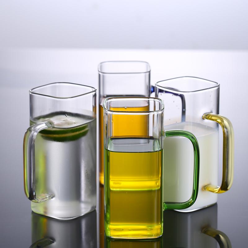 方形奶茶杯玻璃杯带把网红水杯女耐高温微波炉可加热家用创意套装