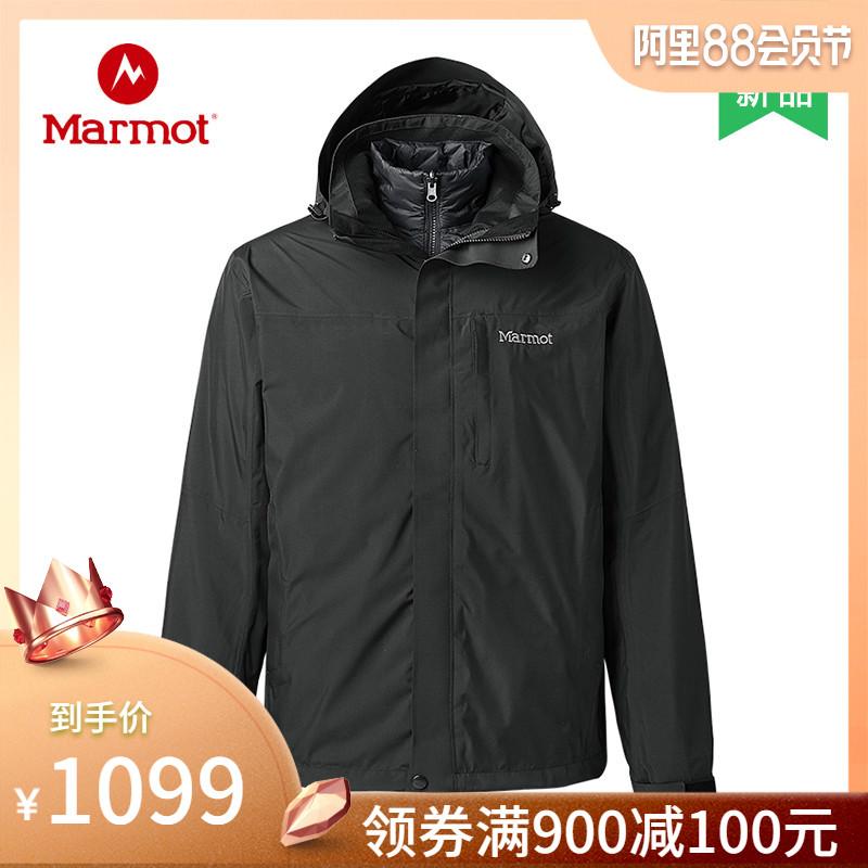 18秋冬新品 marmot/土拨鼠防水透气羽绒内胆三合一冲锋衣男l47390