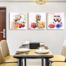 现代客厅餐nn2水果装饰ng打孔酒杯创意三联画新中款壁画钟表