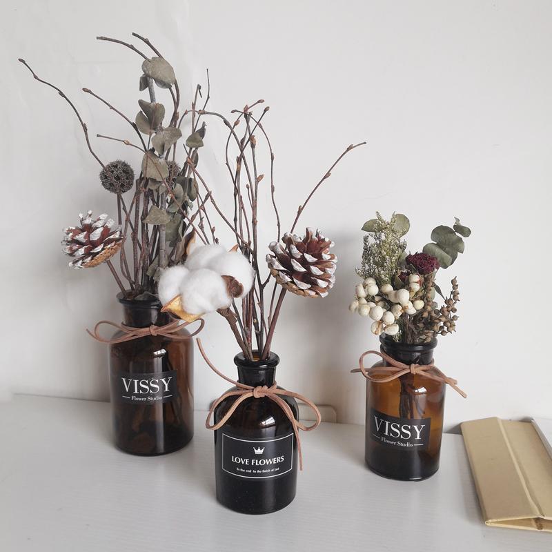 北欧ins风干花花束装饰品摆件 创意树枝棉花带花瓶套装家居摆设