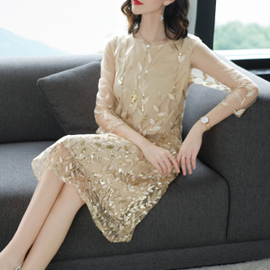 2020 spring new fashion temperament female loose large size sequin embroidery embroidery mid-length cropped sleeve dress