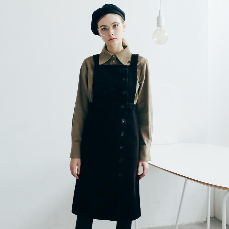 素白已然 高腰裙冬季连衣裙女加厚2017新款气质修身灯芯绒背带裙