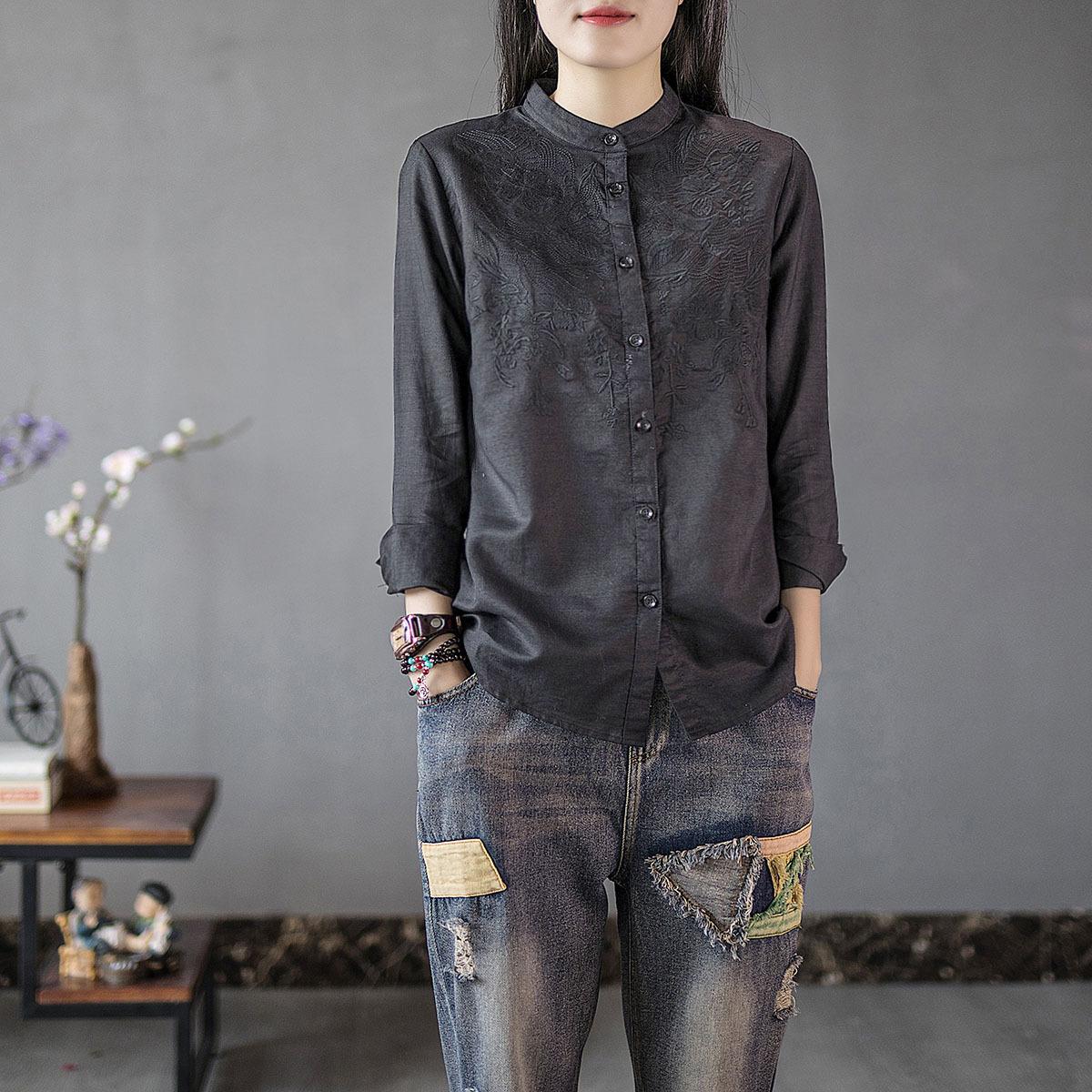 原创文艺复古棉麻衬衣女重工刺绣立领衬衫秋冬季新款打底衬衫上衣