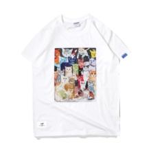原创国货国潮彩qp4猫咪插画xx的宽松纯棉情侣T恤打底衫