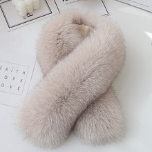 网红式狐狸毛围巾女士冬季fr9款百搭保lp领子毛茸茸围脖夹子
