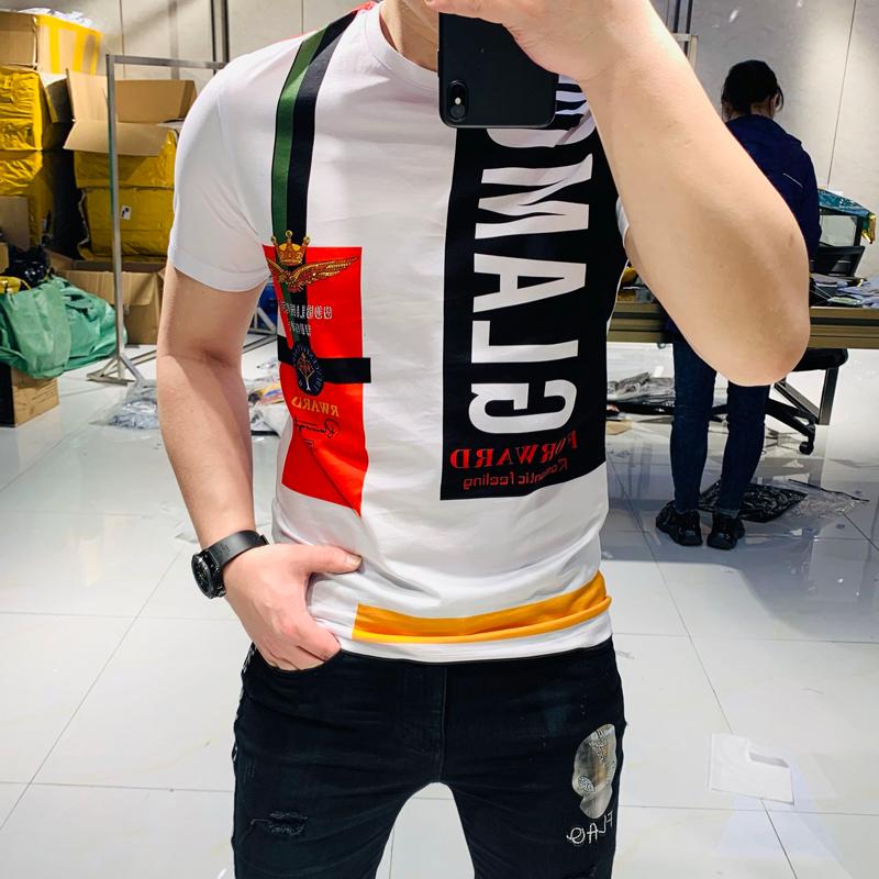 皇冠短袖t恤男士潮牌男装韩版夏季潮流印花新款半袖修身条纹体恤
