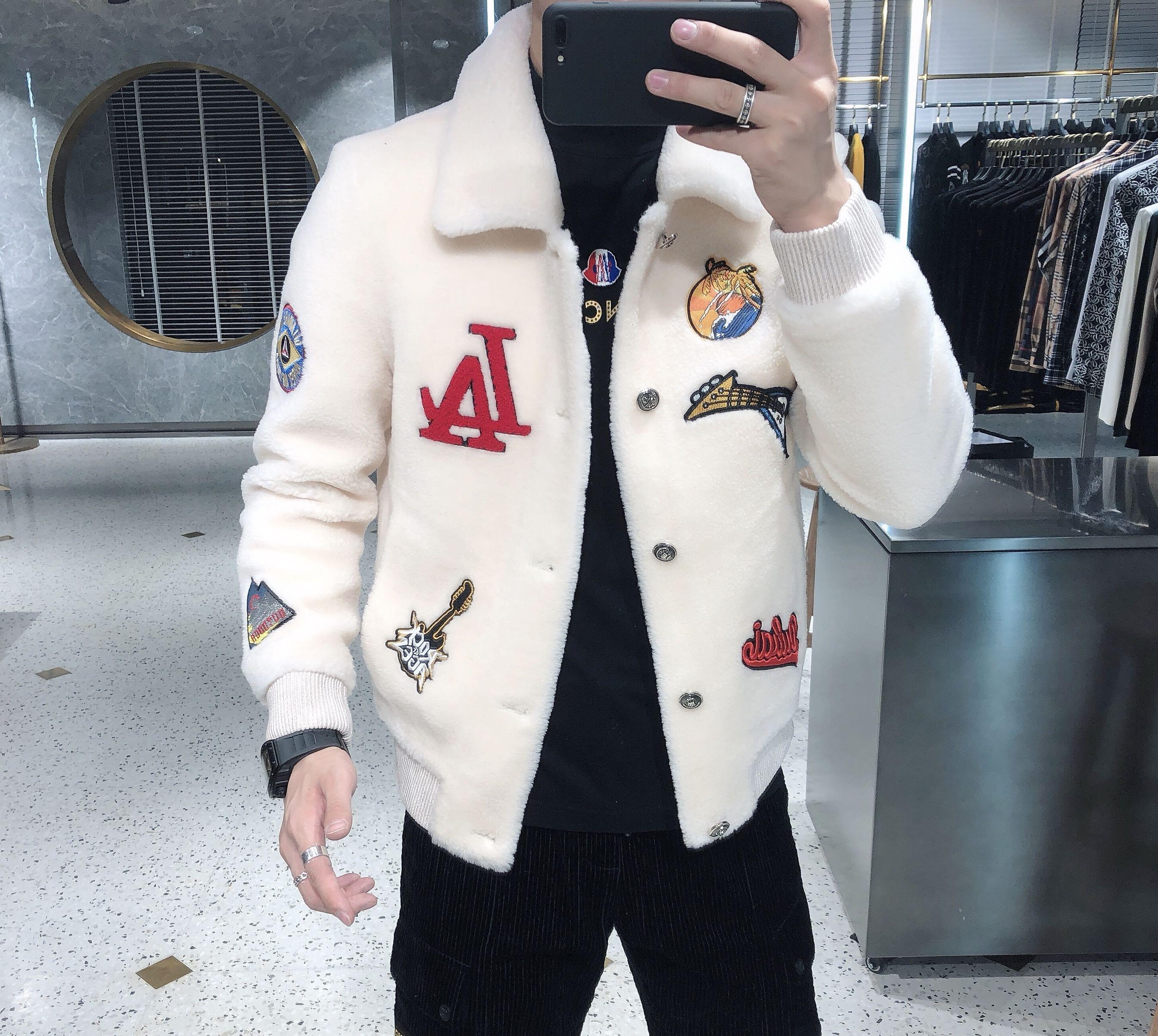 男士羊毛外套2019冬季新款颗粒绒翻领时尚夹克潮流帅气休闲男装