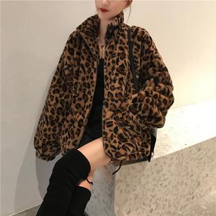 豹纹外套女装欧美时尚冬季2018新款网红同款加厚休闲宽松毛绒大衣