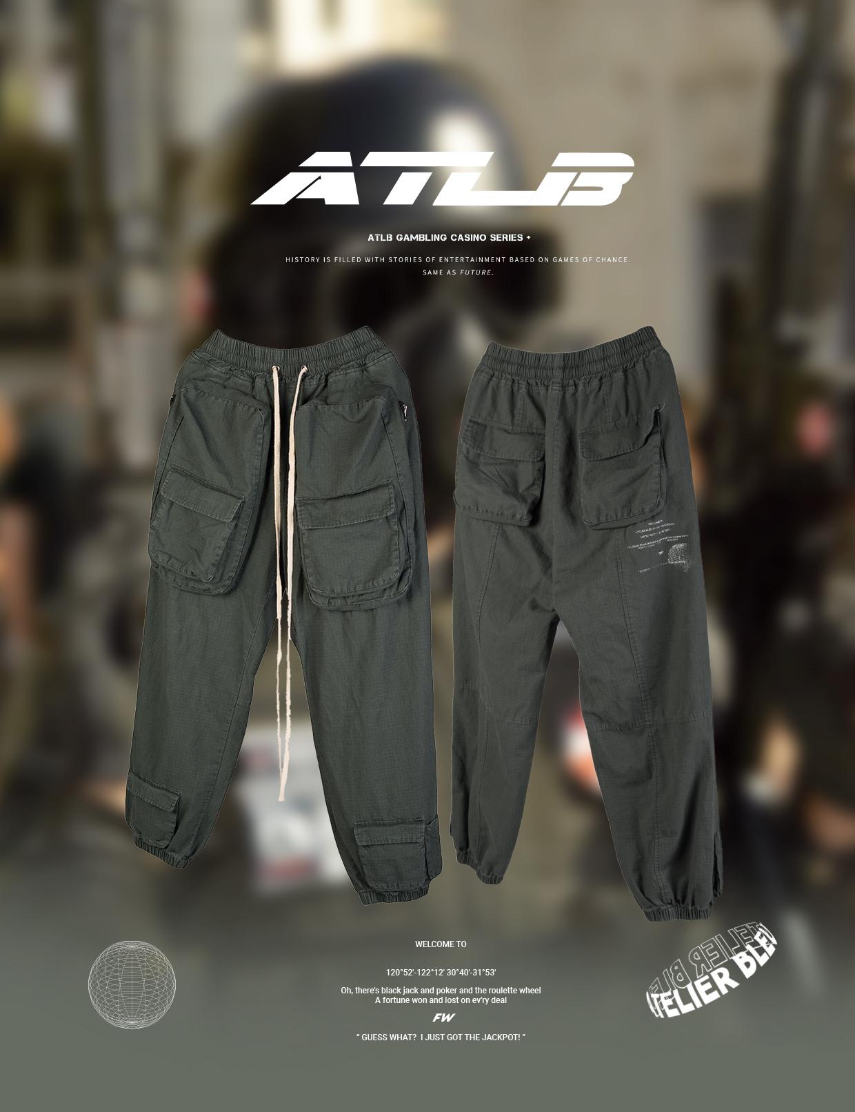 ATLB官方 潮牌春夏款战术多口袋工装军裤男女嘻哈宽松洗水长裤