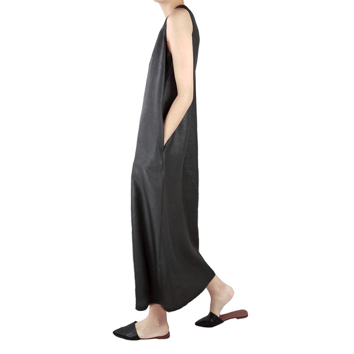 CLEANFLOW原创设计重磅真丝香云纱莨绸无袖背心超长连衣裙宽松