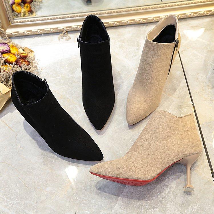 天天特价冬马丁靴女细跟短靴女高跟猫跟裸靴尖头加绒踝靴短筒女靴