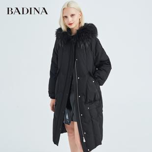 芭蒂娜羽绒服女中长款冬季2019年新款女装韩版宽松冬天棉袄外套