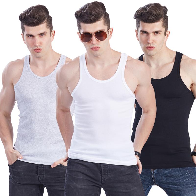 名枪男士背心夏季纯棉修身型运动青年健身打底汗衫韩版潮背心男