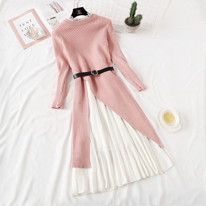 装法式复古毛衣针织连衣裙过膝