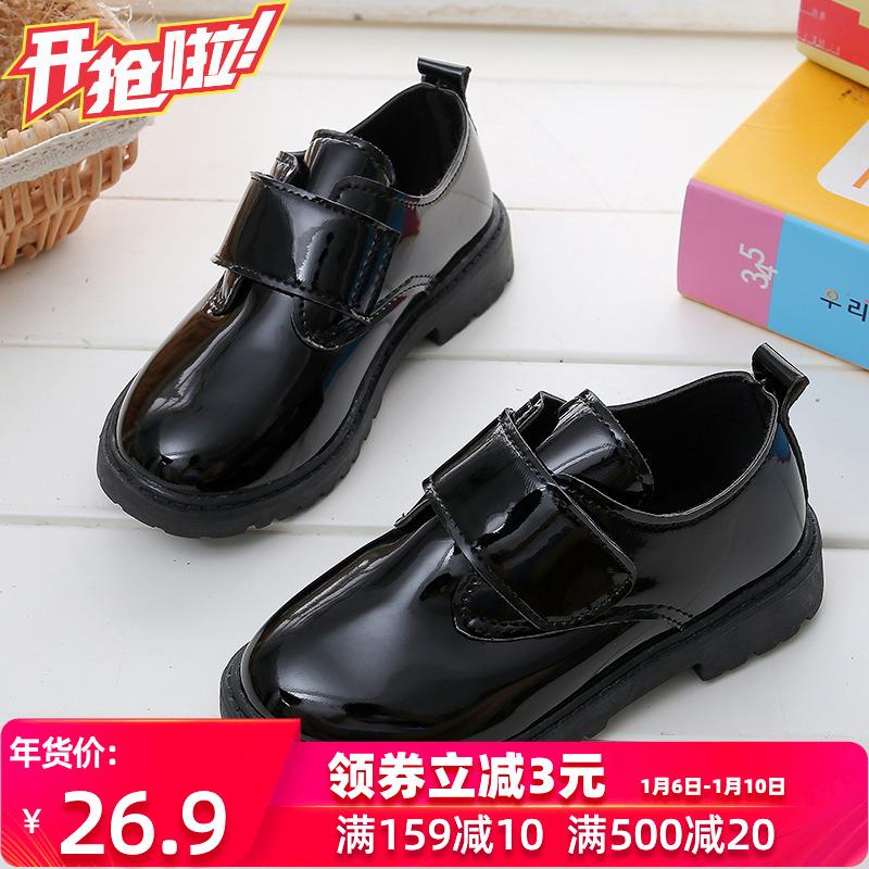 男童皮鞋黑色2019秋冬款儿童表演鞋棉鞋女童小皮鞋加绒学生演出鞋