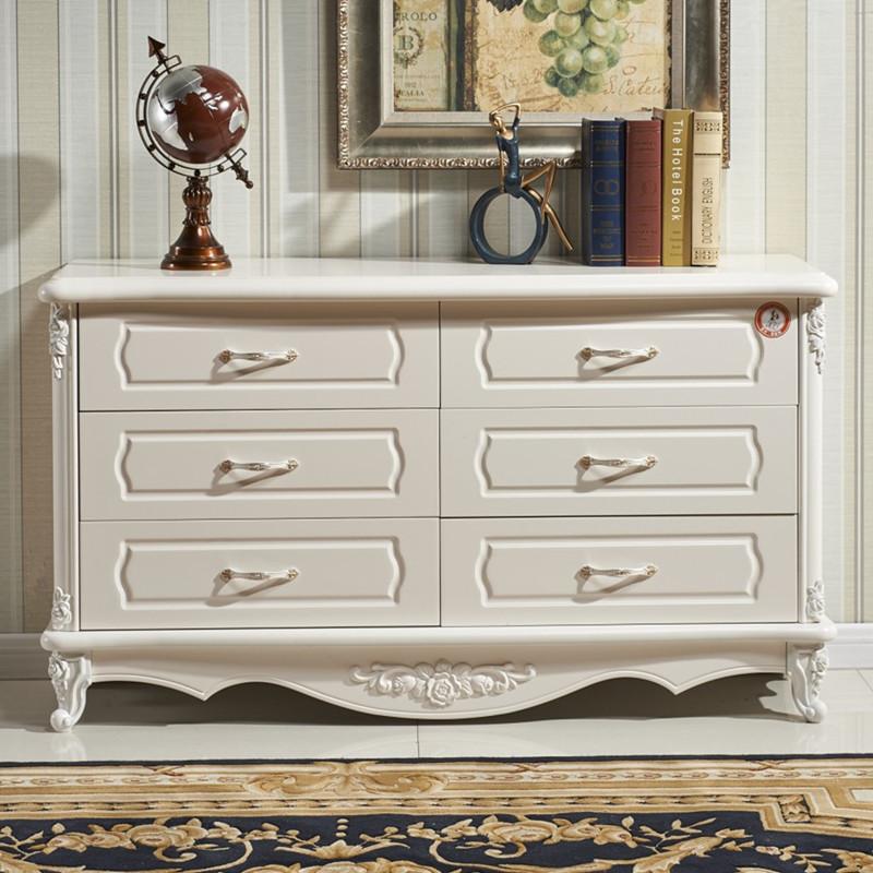 欧式雕花六斗柜多功能储物柜实木抽屉收纳柜子卧室烤漆五斗柜组装