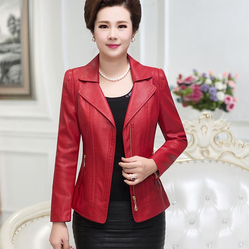 中年女士皮衣外套短款夹克春秋冬季304050岁中老年女装妈妈装加厚