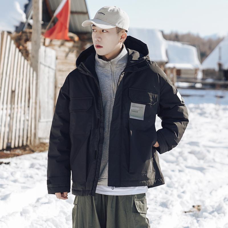冬季工装风黑色白鸭绒轻薄羽绒服男士连帽面包服潮流宽松保暖外套
