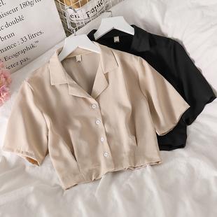 短款西装上衣设计感女夏泫雅风chic洋气百搭小众气质短袖雪纺衬衫图片