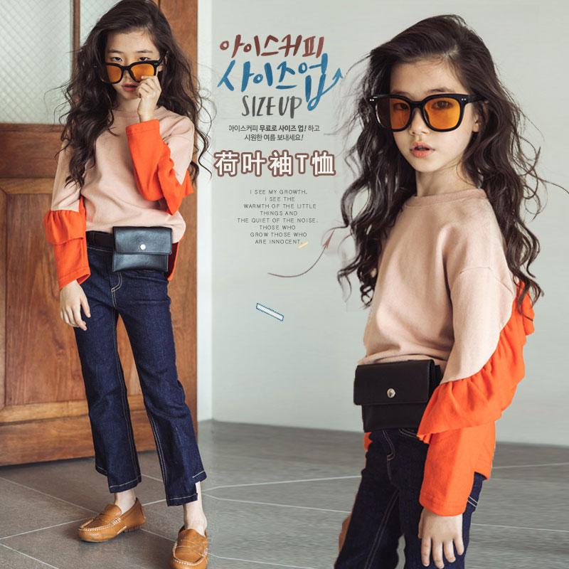 韩版女童撞色T恤2018秋季新款中大童时尚长袖体恤儿童潮衣打底衫