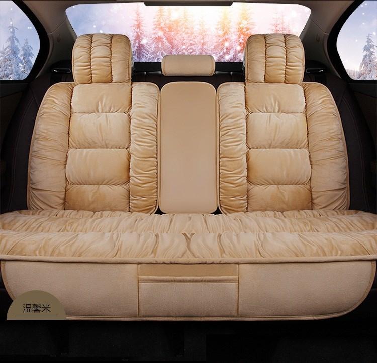冬季汽车坐垫短毛绒羽绒座垫全包围保暖椅套哈佛座套网红女后排男