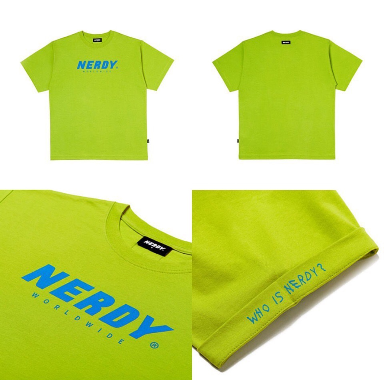 韩国潮牌nerdy敲好看不撞衫的牛油果绿荧光绿色短袖T恤情侣款女生