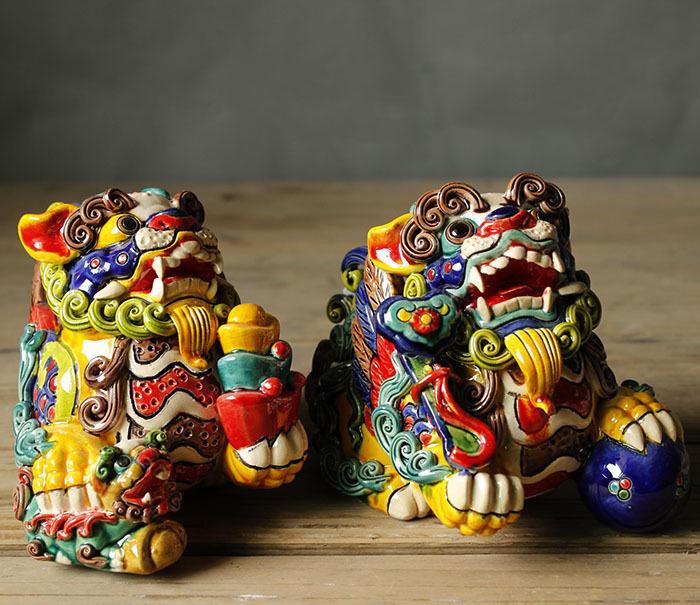 手工艺品镇宅避邪玄关摆件七彩麒麟狮神兽如意招财中式风水摆件