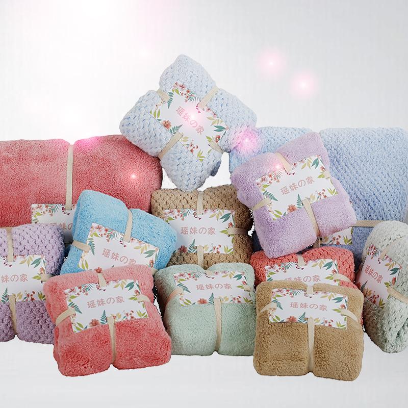 日本珊瑚绒毛巾吸水干发巾擦头发速干洗脸家用加厚成人柔软不掉毛