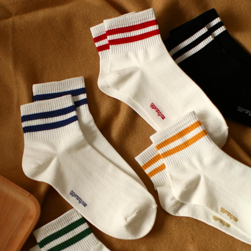 秋冬新品纯色基础款二条杠纯棉短筒袜男士运动潮流全棉中筒袜子