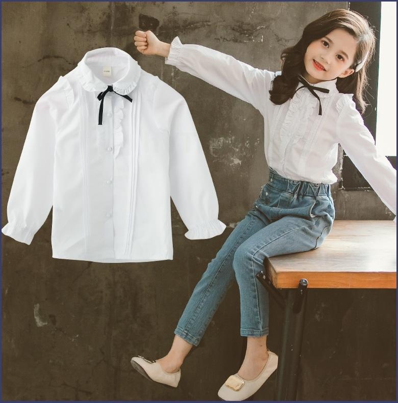 女童衬衫2019秋装洋气时尚宝宝儿童装长袖小女孩蝴蝶结白色衬衣潮