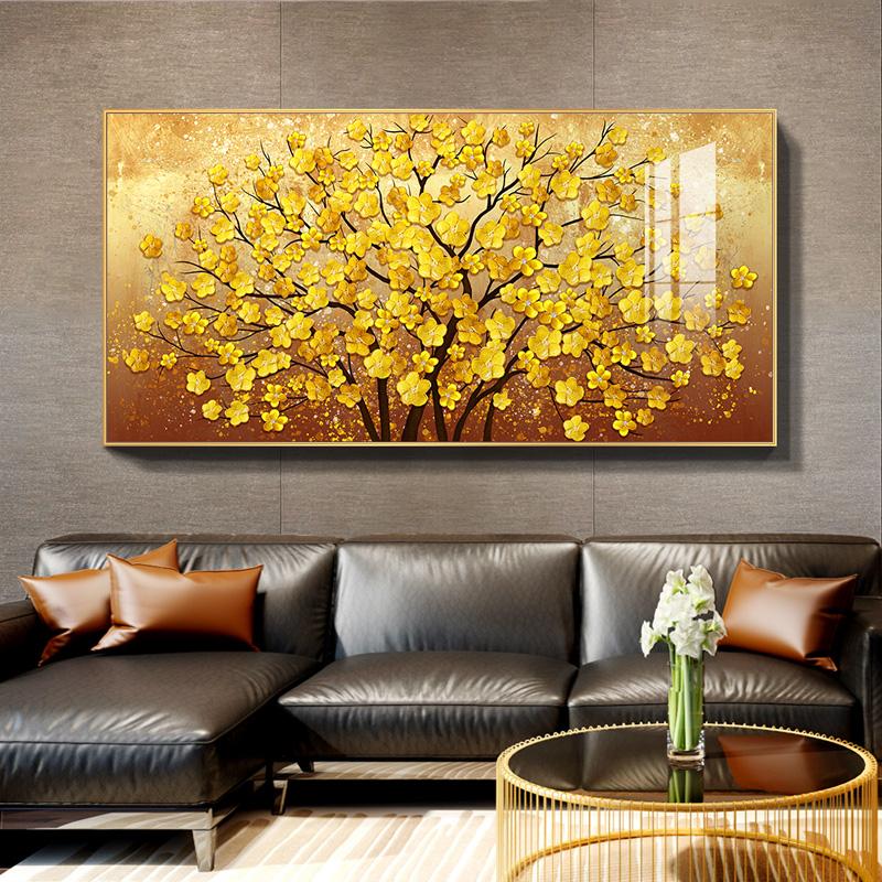 金花 现代轻奢客厅装饰画沙发背景墙挂画金色大气发财树餐厅壁画