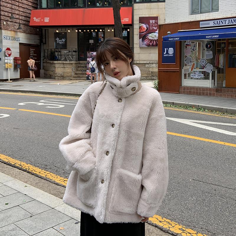 皮草女2019秋冬新款仿羊羔毛大衣皮毛一体外套中长款韩版颗粒毛绒
