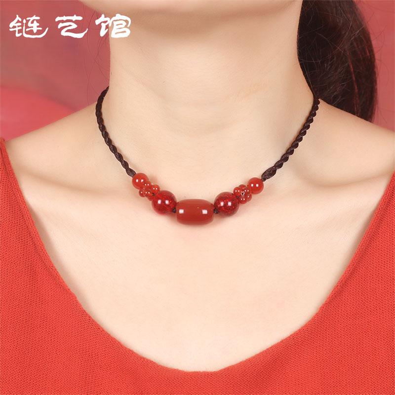 链艺馆短款项链红色玛瑙女民族风锁骨链原创手工编织脖子装饰品