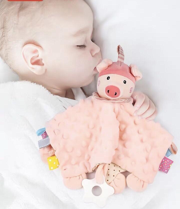 婴儿高弹水晶绒布玩安抚巾不掉毛可啃咬牙胶响铃响纸手偶安抚玩具