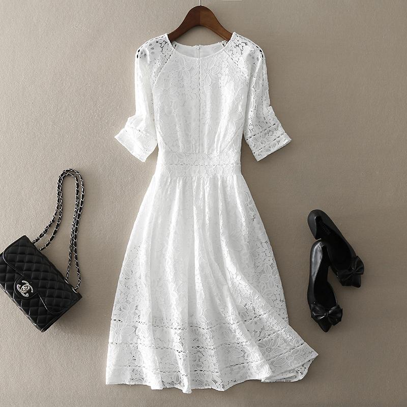 巨仙!王妃同款白色蕾丝连衣裙女中长款修身显瘦五分袖A字大摆裙
