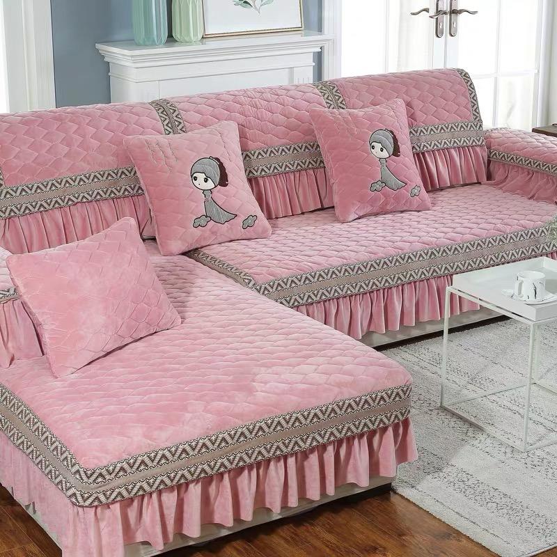 冬季毛绒沙发垫子欧式简约现代坐垫加厚水晶绒沙发套罩飘窗垫定做