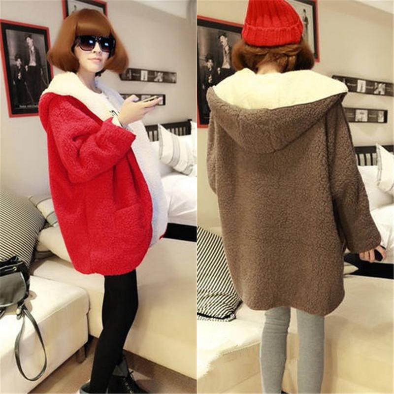 2019韩版女士秋冬装羊羔绒外套加厚双面毛绒中长款开衫女潮学院风